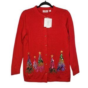 Quacker Factory Rainbow Christmas Tree Cardigan